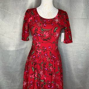 LuLaRoe Dresses - NWT LULAROE NICOLE RED FLORAL DRESS